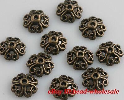 100pcs Wholesale Retro Silver/Bronze Tone Flower Bead Caps Hot Sale 8mm