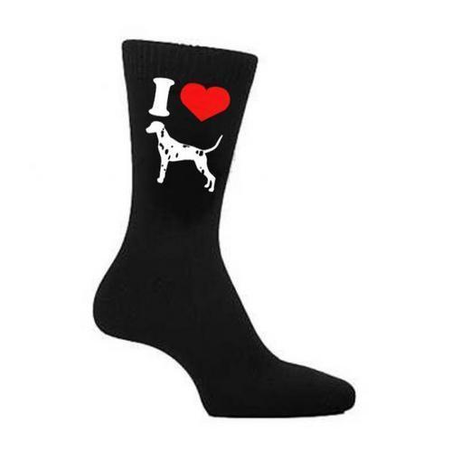 I Love Heart Dalmatians Dog Dogs Pet Owner Black Socks UK 5-12