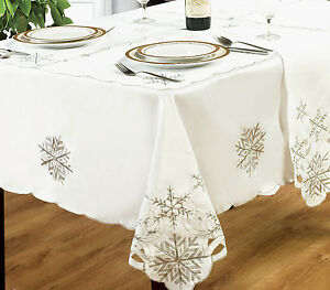 Image Is Loading Snowflake White Silver Table Cloths Embroidered Cut Work