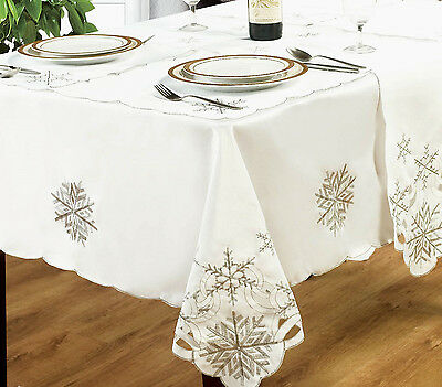 Embroidered Snowflake White Silver Christmas Tablecloths Table Runner Napkins Ebay