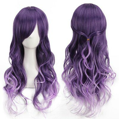 Harajuku Women Gradient Purple Curly Wavy Long Wigs Cosplay for Party HOT