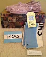 NWT TOMS Lilac Snow Crochet Flats Shoes PURPLE Womens size 9.5 M  9 1/2