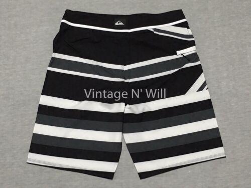 "Quiksilver Men 32 Union Jack Flag Black White Stripe 21/"" Board Shorts Swim Beach"