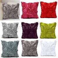 Satin Rose Flower Floral Square Throw Pillow Cushion Pillowcase Case Cover