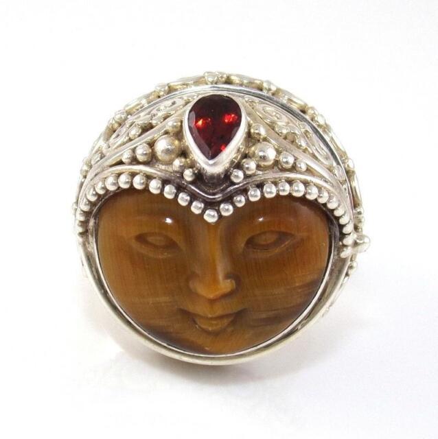Sajen Sterling Silver Tiger's Eye Red Garnet Goddess Poison Pill Ring Size 7 Adj