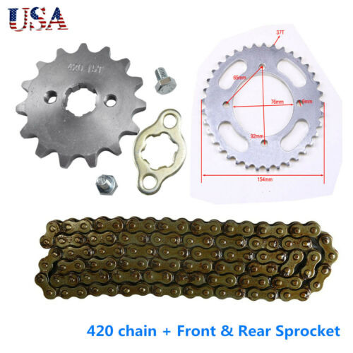 ATV 420 Chain 106L+Front Rear Sprocket for 110cc 125cc 150cc CRF50 Pit Dirt Bike