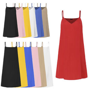 VONDA-Women-Spaghetti-Strap-Sleeveless-Plain-Baggy-Cami-Slip-Dress-Tank-Sundress