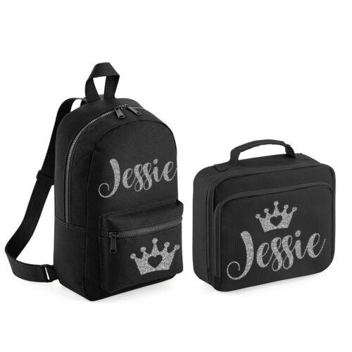 Personalised Backpack /& Lunch Bag Set Crown Kids Childs Back To School Bag MBPT
