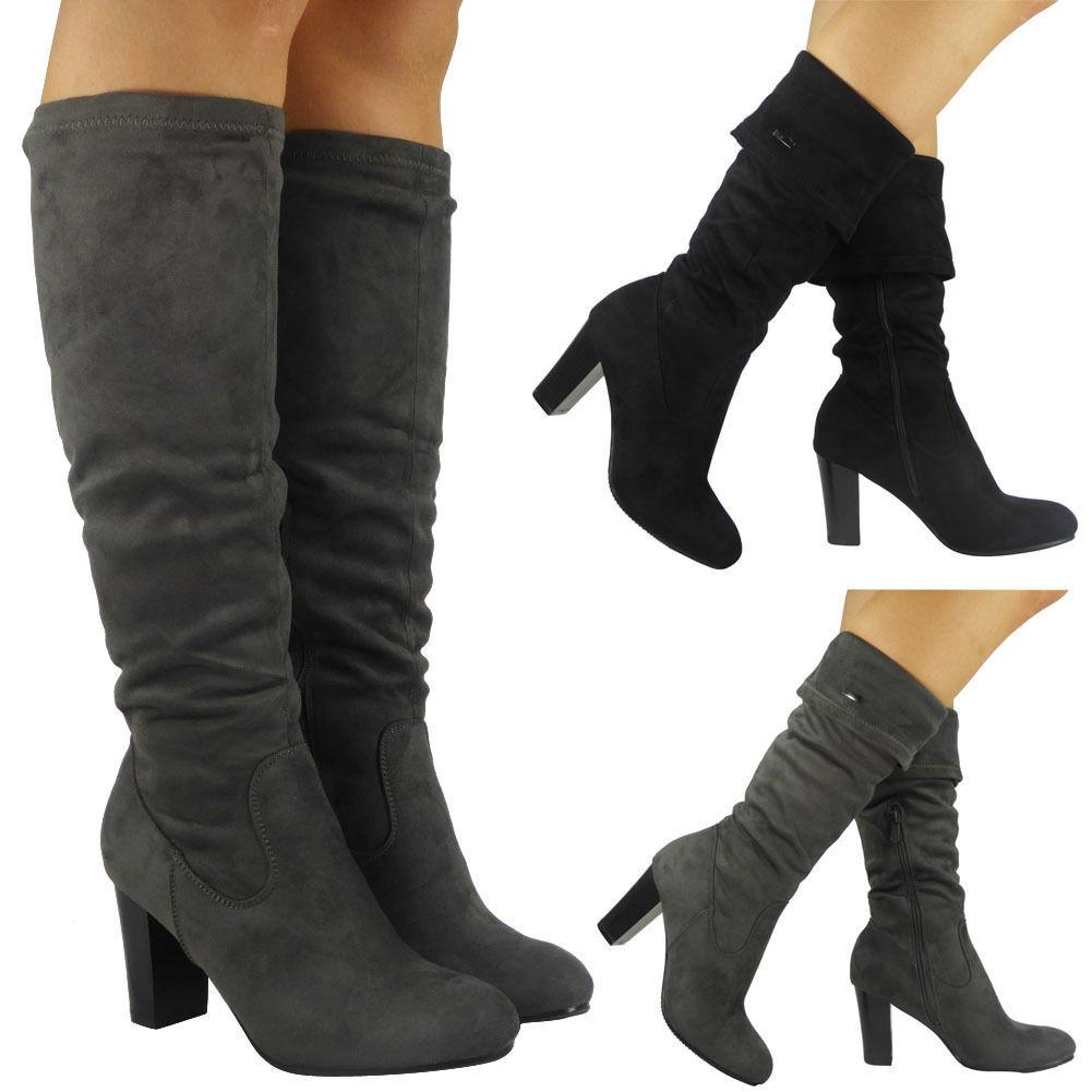 Mujer Ladies Mid Mid Mid Calf botas Fold Over Long Stretch High Cuban Heel Zapatos Talla d3efd9