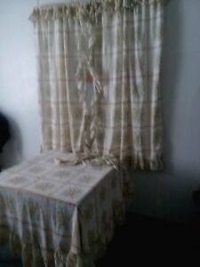 Details About Vtg Ruffled Curtains 46 X 63 Tie Backs Round Tablecloth Shabby Chic Cottage