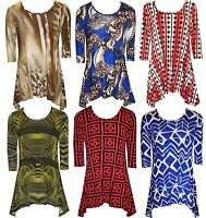 New Womens Plus Size Pleated Tunic Uneven Hem Top Ladies Dress 16 18 20 22 24 26