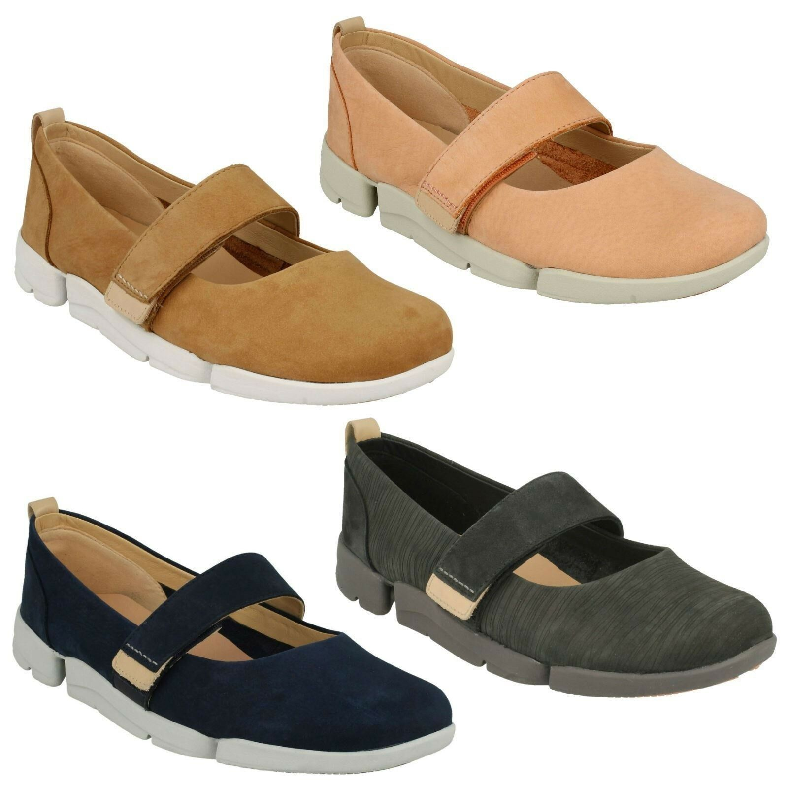 LADIES CLARKS FLAT NUBUCK LEATHER CASUAL LIGHTWEIGHT RIPTAPE FLAT CLARKS SHOES TRI CARRIE d5811d