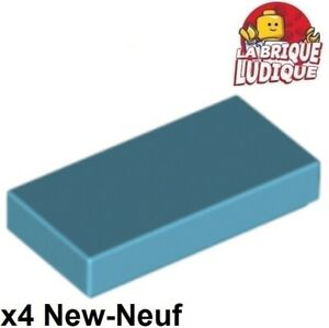 4x Tile plaque lisse 1x2 with Groove bleu moyen//medium blue 3069b NEUF Lego