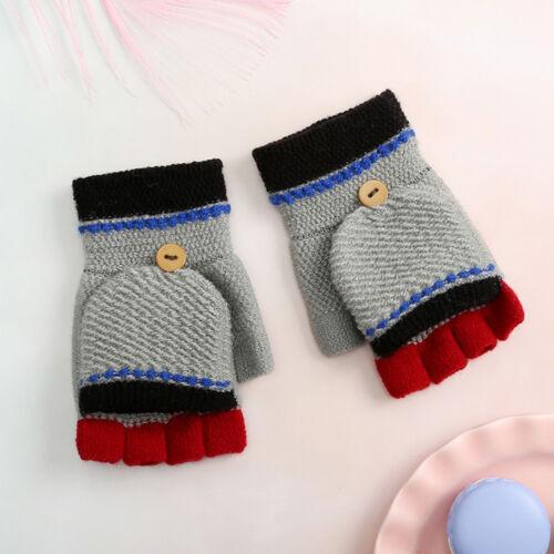 Children Girls And Boys Winter Cartoon Patchwork Keep Warm Mittens Gloves US