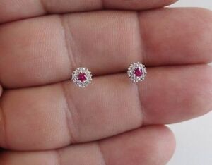 FLOWER-STUD-925-STERLING-SILVER-EARRINGS-W-50-CT-LAB-DIAMONDS-amp-RUBY-6MM