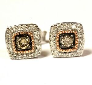 925-Sterling-Silver-25ct-champagne-white-diamond-cluster-stud-earrings-1-7g