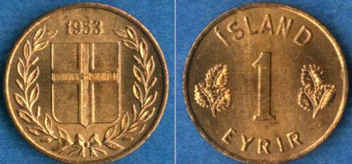 KM8,9 Iceland 1953 1 Eyrir /& 1965 5 Aurar 2 Uncirculated Coin Set