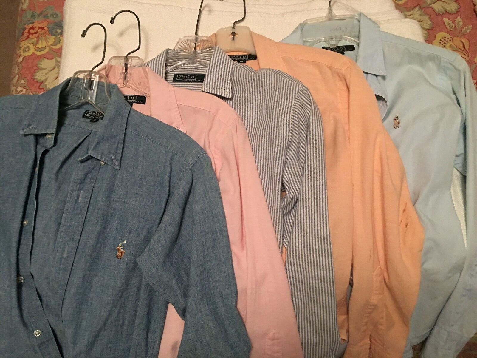Lot - 5 Vintage 80's Ralph Lauren Polo button-downs boys 14, women's 4-6