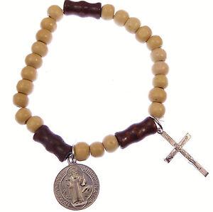 Small Light brown wood Catholic St. Benedict stretch bracelet + silver crucifix