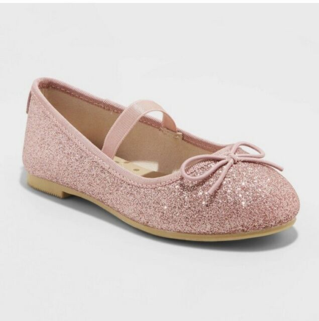 NWT Toddler Girls/' Pink Glitter Slip-On Ballet Flats Cat /& Jack