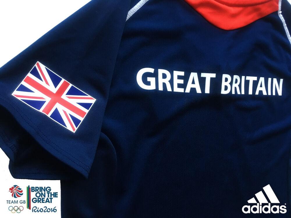 "Adidas Team Gb Élite Athlète Olympique Question Blue Event T-shirt Taille 6 Tour De Poitrine 32"""