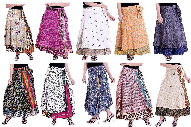Vintage Girl Silk Sari Magic Wrap Around Long Skirts  Dress Wholesale Lot 10 Pc