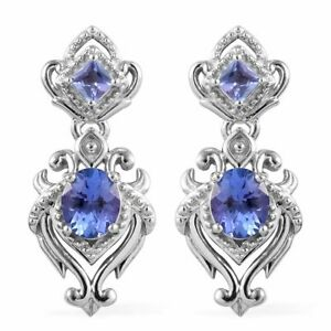 Drop-Dangle-Earrings-925-Sterling-Silver-Platinum-Over-Blue-Tanzanite-Cts-0-8