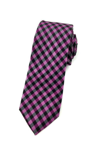 Men/'s Violet Checkered 6CM Skinny Tie /& Pocket Square Check Ties and Hanky Combo