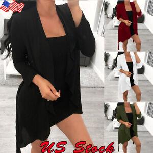 Women-Outwear-Long-Sleeve-Front-Open-Casual-Blazer-Suit-Jacket-Coat-Cardigan-US