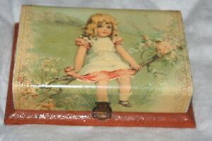 Antique Childs Victorian Vanity Box Brush Mirror Buffer 2