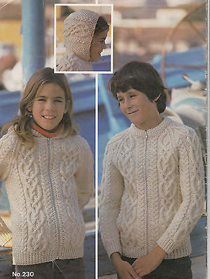 Childs  Aran Jacket Knitting pattern- with or without hood- chest 22-32""