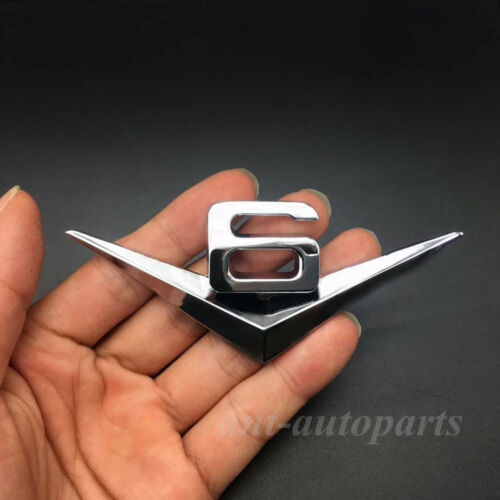 Metal Chrome Auto Car V6 Vintage Logo Trunk Rear  Emblems Badge Decal Sticker