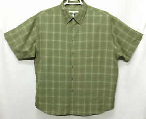 Mens-Perry-Ellis-2XL-XXL-Green-Plaid-Short-Sleeve-Button-Front-Shirt