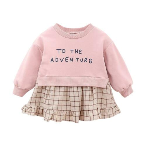 Baby Plaid Printing Dress Kids Girls Splicing Autumn Ruffled Cotton Long Sleeve
