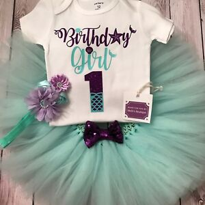 Image Is Loading Mermaid First Birthday Tutu Little Outfit Under