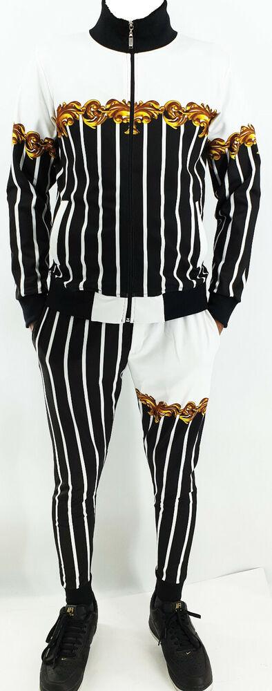 Homme Tim Baroque Print Stripped Survêtement Track Top & Track Pantalon De Survêtement Fermeture Éclair