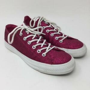 ae20a52f089a Converse Low Top Hot Pink Glitter Sparkle Sneakers Shoes Womens Size ...
