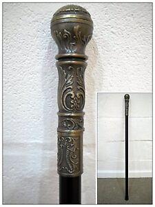 Gentleman's Classic Antique Round Head Walking Stick Cane Handle Silver Finish