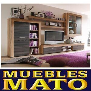 Detalles de MUEBLE SALON TV SALA COMEDOR OFICINA MODELO CANBERRA CAMBRIAM  CENIZA