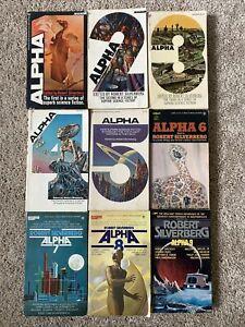 Alpha Lot of 9 Robert Silverberg Paperback Books 1970s SciFi Anthology 1-9 RARE
