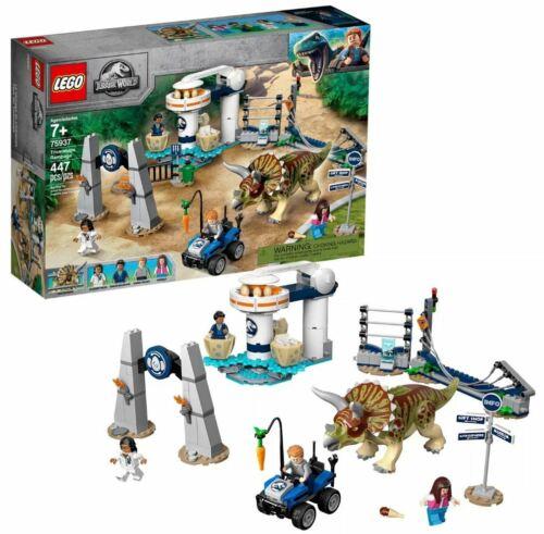 LEGO Jurassic World 75937 Triceratops Rampage Building Set w Dinosaur /& Minifigs