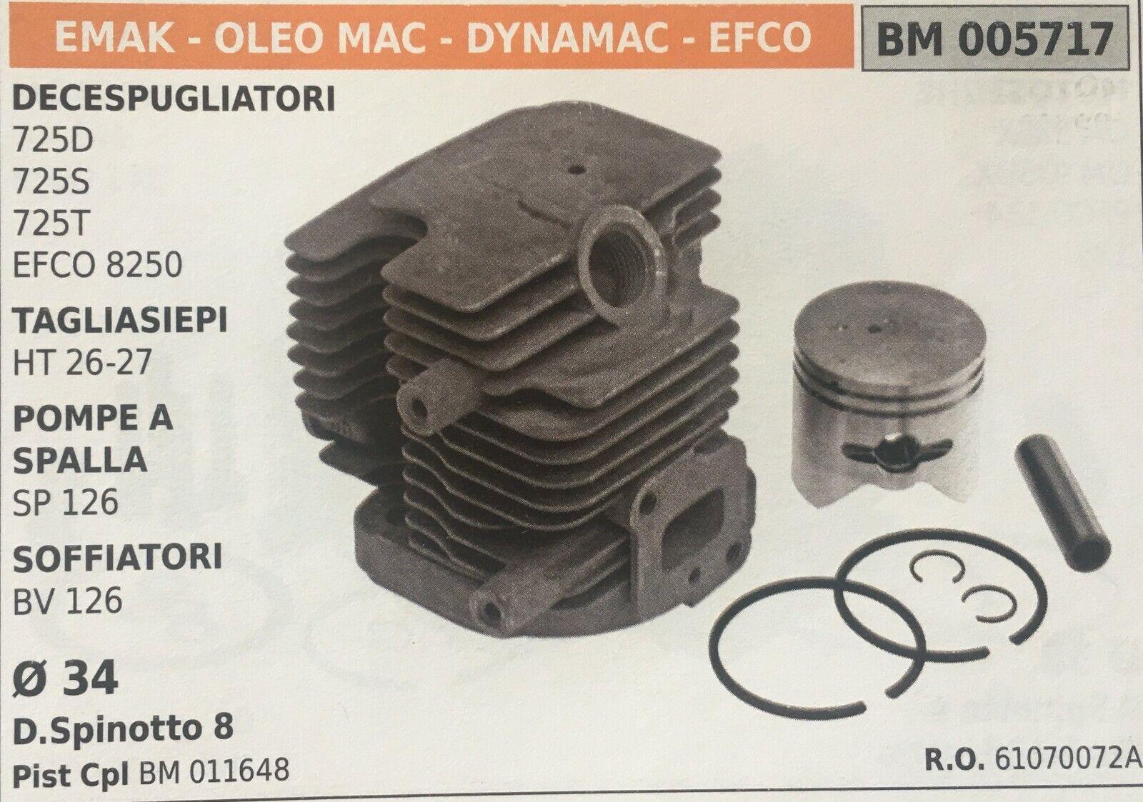 Cilindro Completo por Pistón y Segmentos Brumar BM005717 Emak-Oleo Mac y Otros