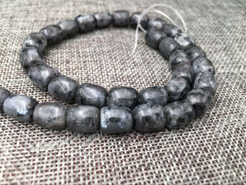 "Natural 9x12mm Black Jade Zoisite Gemstones Drum Cylinder Loose Beads 15/"" AAA"