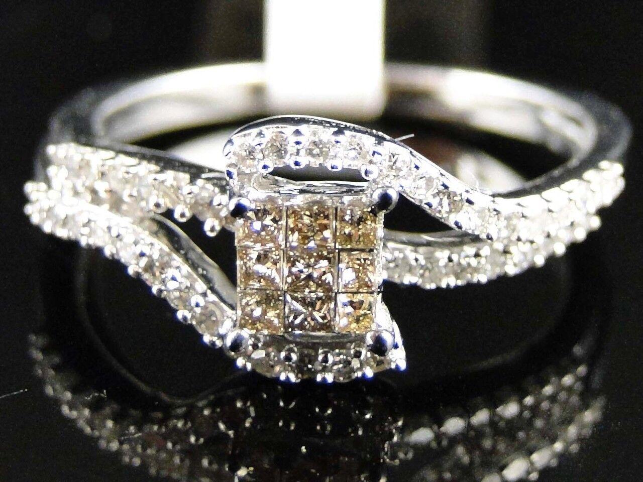 White gold Ladies Princess Cut Brown  Engagement Diamond Wedding Ring 1 3 Ct