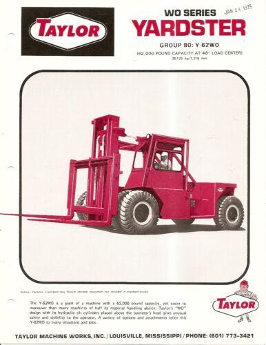Fork Lift Truck Brochure - Taylor - WO series Y-80 - Yardster - c1974 (LT53)