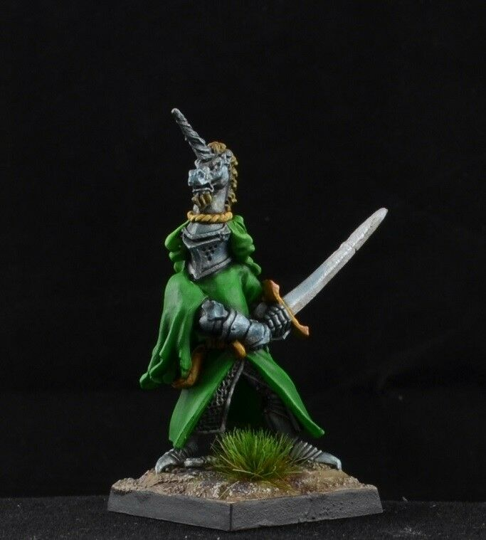 Painted Sir Richard The White from Reaper Miniatures D&D green heraldic knight