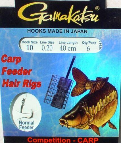 8+10+12 Futterkorb-Angeln 6 Vorfächer Gr Gamakatsu Carp Feeder Hair Rigs
