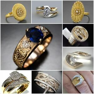 Beautiful-18K-Yellow-Gold-Filled-White-Topaz-Sapphire-Ring-Wedding-Party-Sz5-10