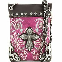 Western Cowgirl Purple Metal Cross Body Hipster Small Messenger Bag Purse