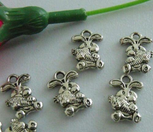 40pcs zinc alloy rabbit pendants 15x10mm 1A785